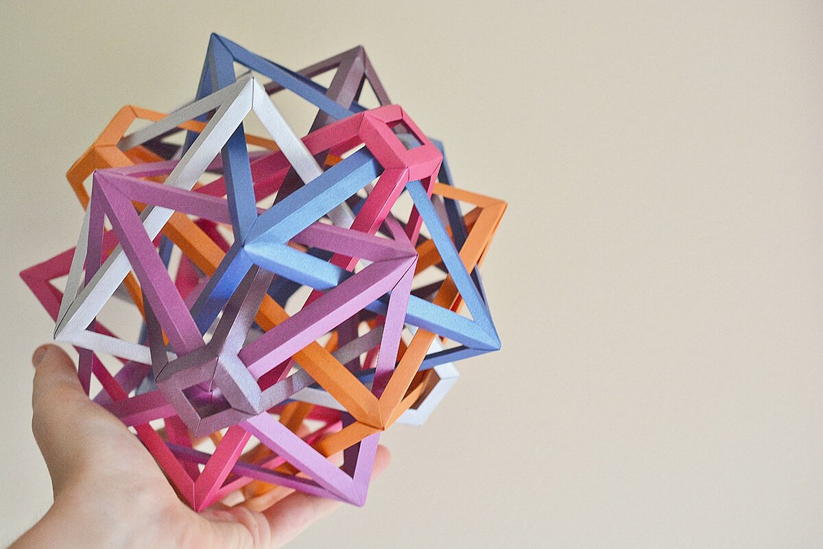 """Lanterns"" Six Interlocking Irregular Monotruncated Octahedra (Byriah Loper)"