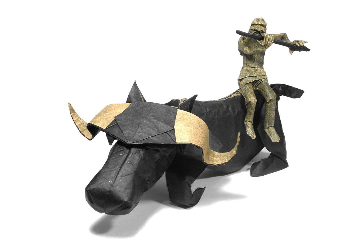 Origami Herdboy and Water Buffalo