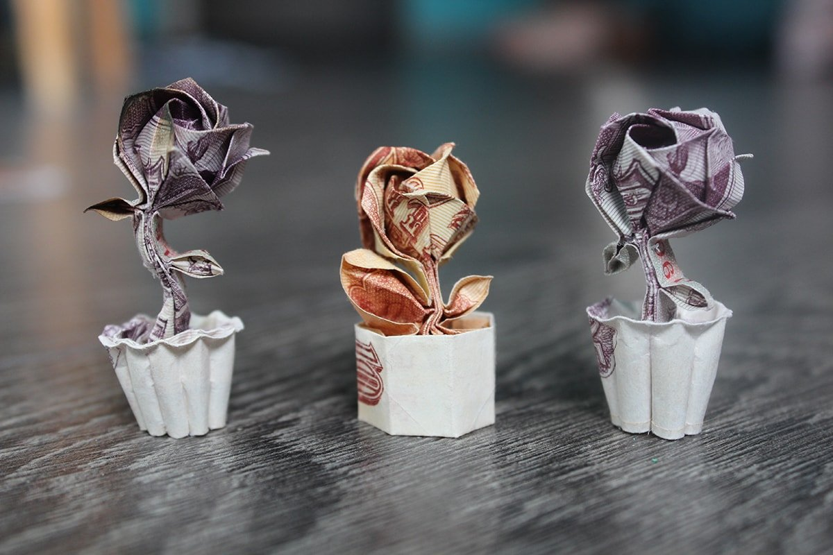 Money Origami Flower Bouquet money rose in full bloom — crafthubs ... | 800x1200