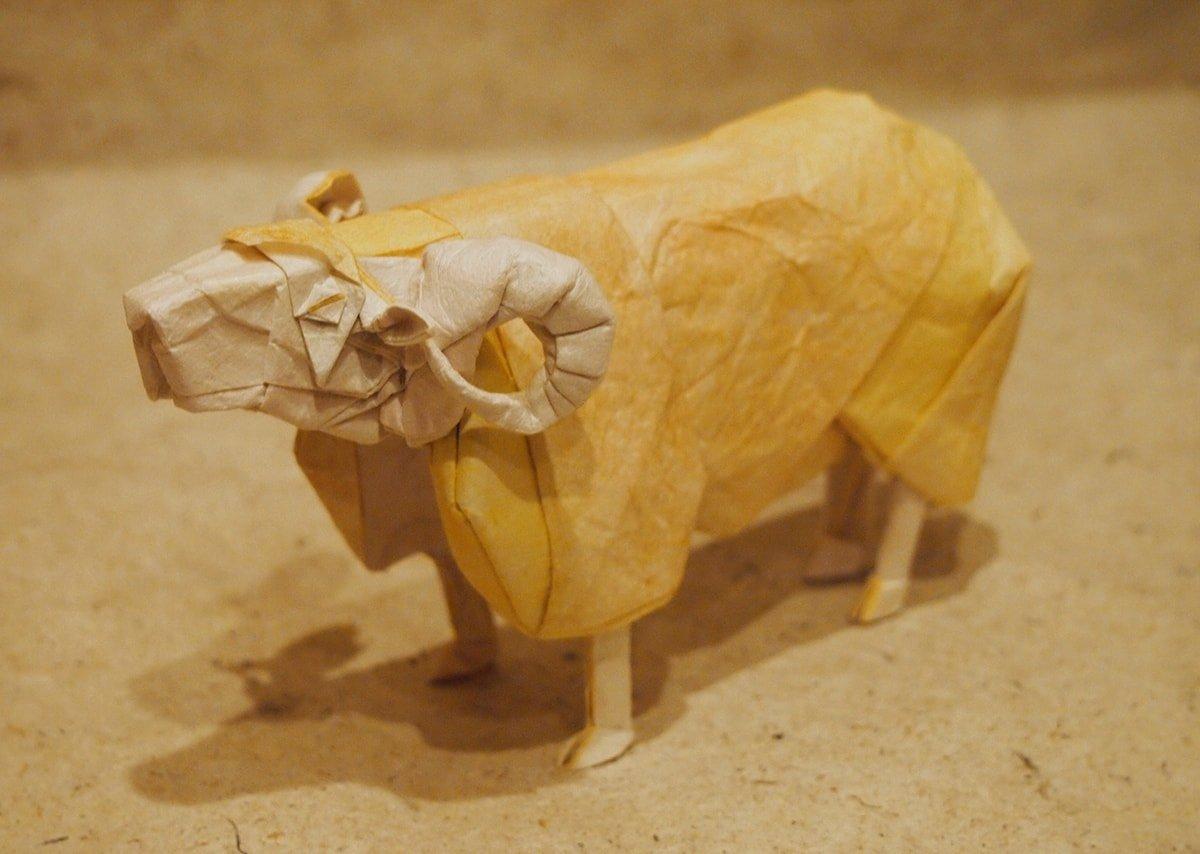 Paper Ram Folded by Hiroaki Kobayashi (Aries)