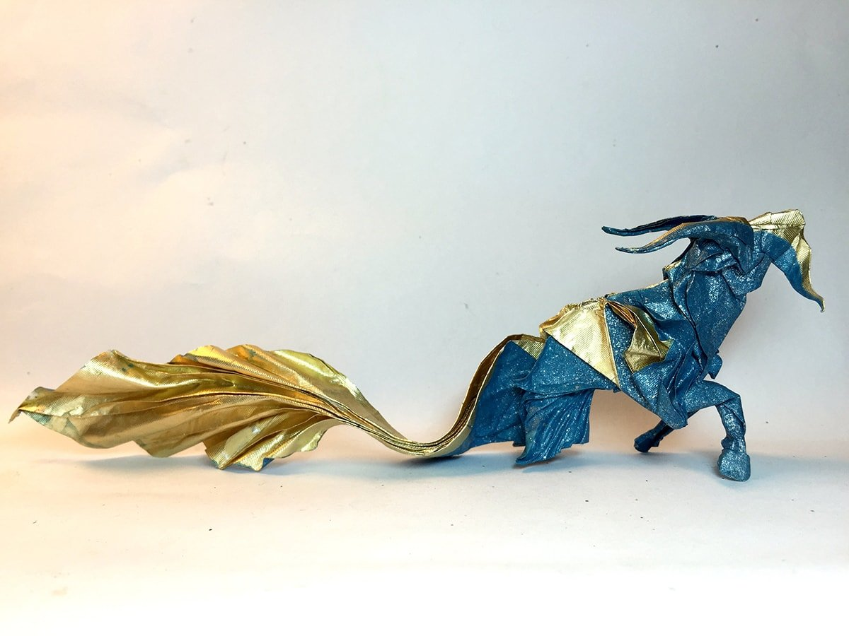 Gold and Blue Paper Capricorn