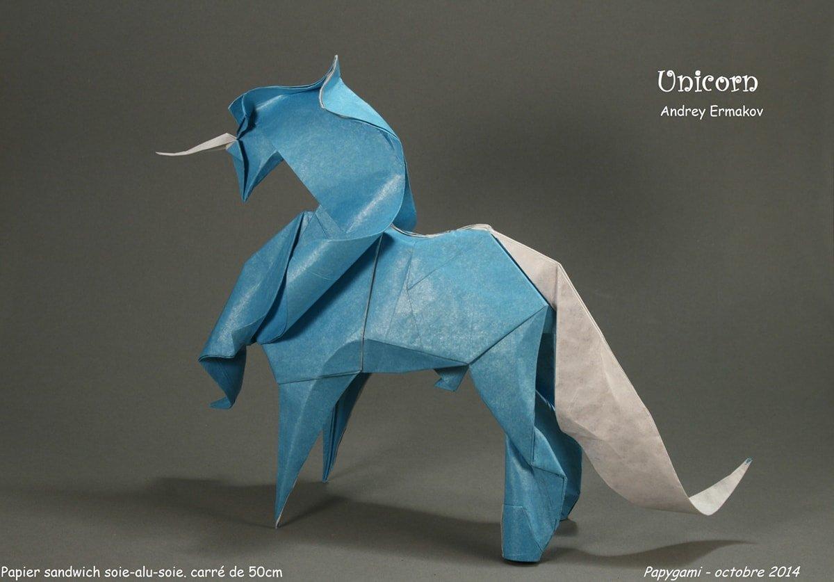 Paper Unicorn Folded by Luc Marnat