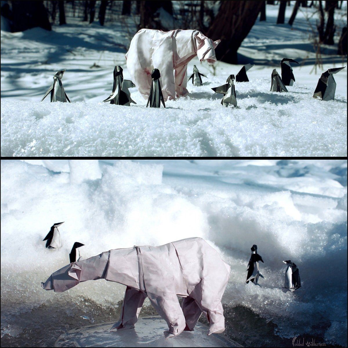 Papercraft Polar Bear and Penguins in the Wild