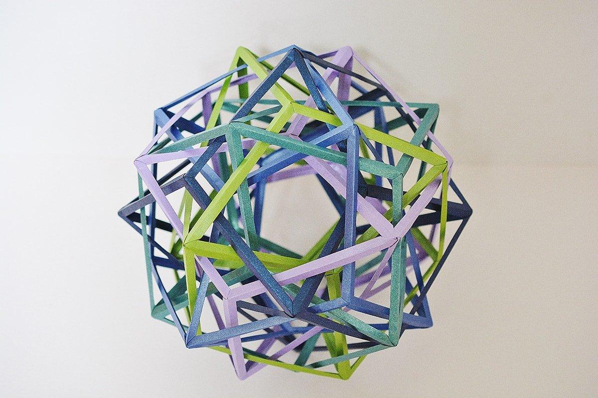 Five Interlocking Irregular Hyperboloidal Rhombic Dodecahedra (Byriah Loper)
