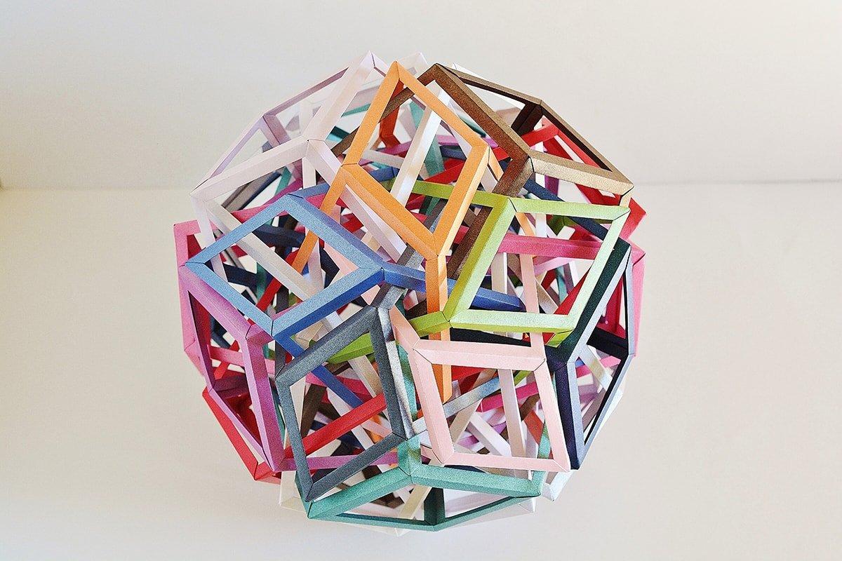Fifteen Interlocking Wrinkled Rhombic Prisms (Byriah Loper)