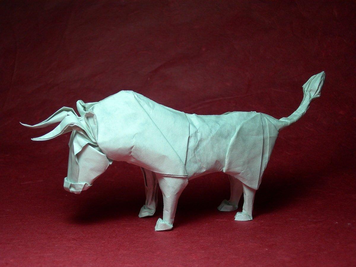 Wet Folded Origami Bull