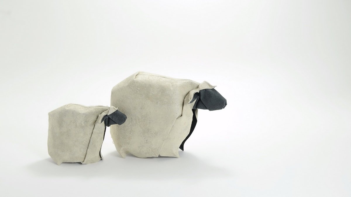 Pair of Origami Sheep