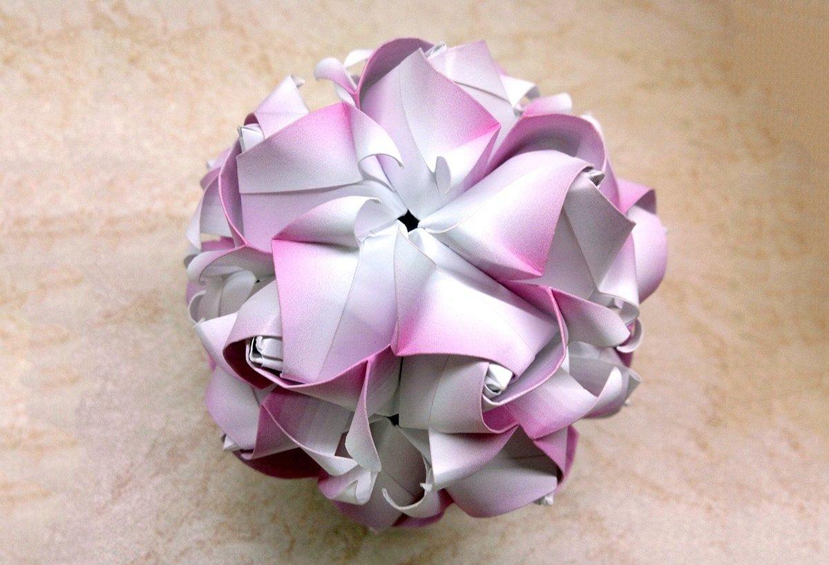 Moonstone Rose Kusudama by Natalia Romanenko