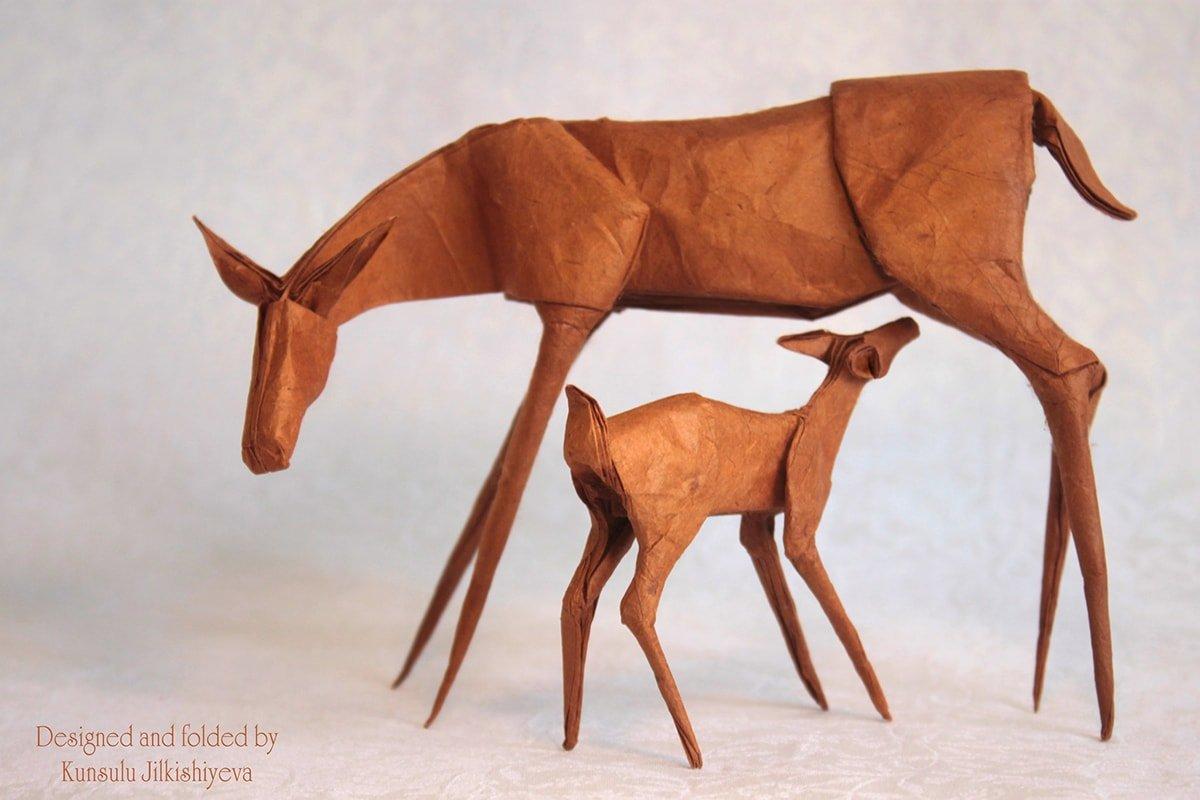 Deer Mom and Baby - Kunsulu Jilkishiyeva