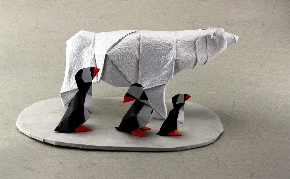 Polar Bear + Puffins by Nicolas Terry