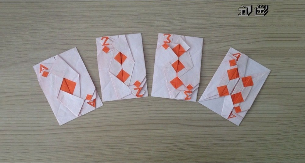 Ace, Two, Three and Four of Diamonds Cards