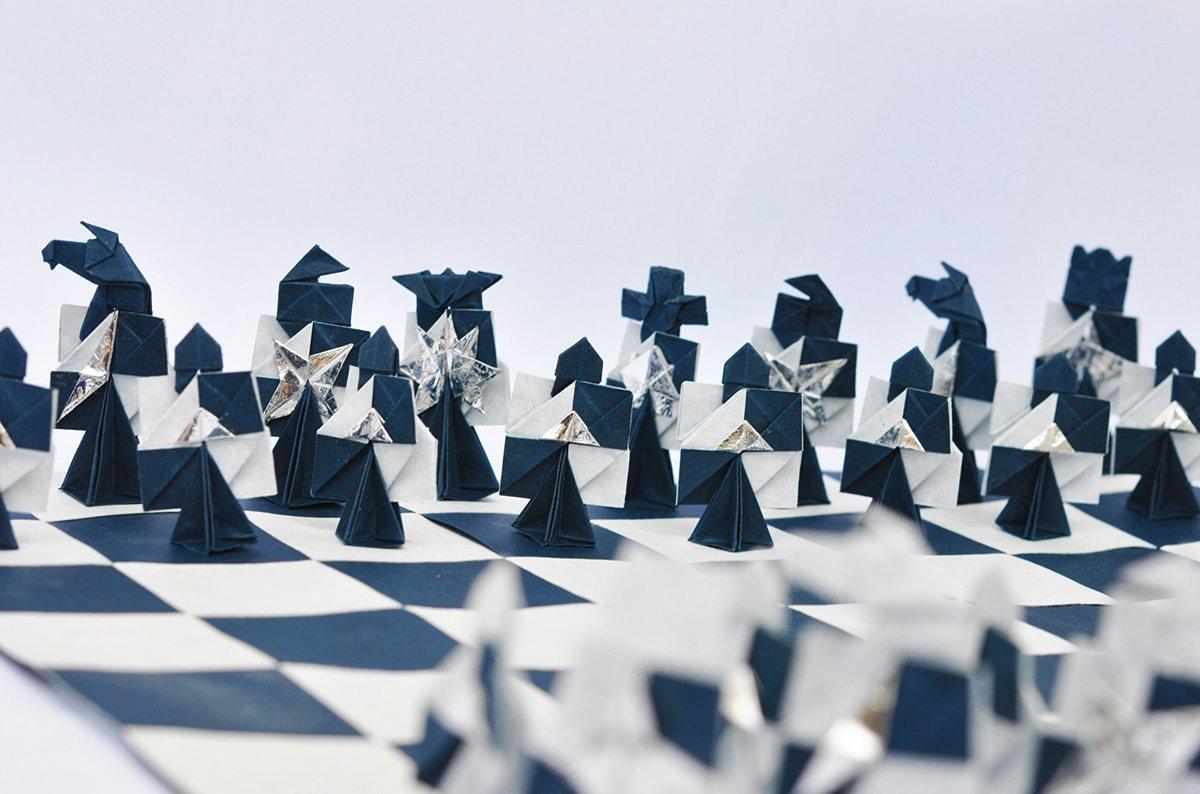 Blue Paper Chess Set