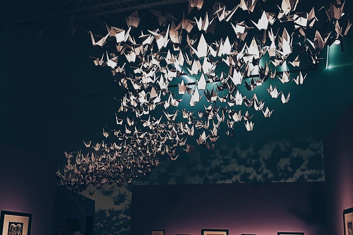 Origami cranes at art exhibition